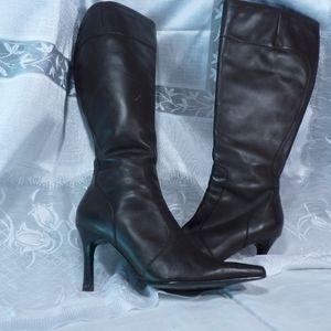 7.5 Dark Chocolate Leather High Heel Boots.